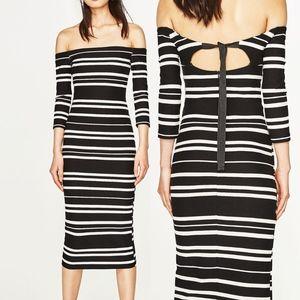 ZARA Off the Shoulder Fitted Midi Striped Dress ⭐️